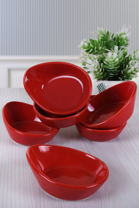 Keramika Kırmızı Mini Gondol Çerezlik / Sosluk 8 Cm 6 Adet