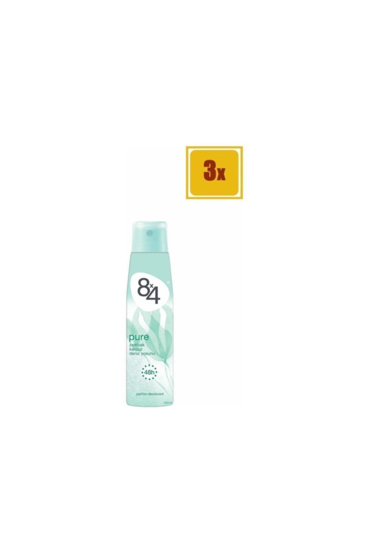 8x4 Pure Sprey Deodorant 150 ml X 3 Adet 1