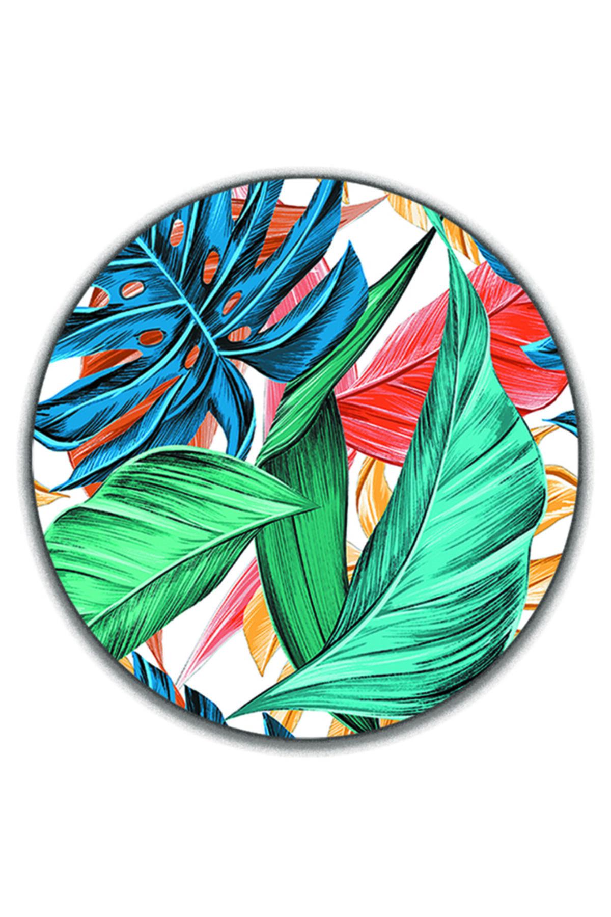 ELF Desıgn Tropik Yaprak Desenli Amerikan Servisi 4 Lü Set Supla (4 ADET ÇAY TABAK ALTLIĞI) 1