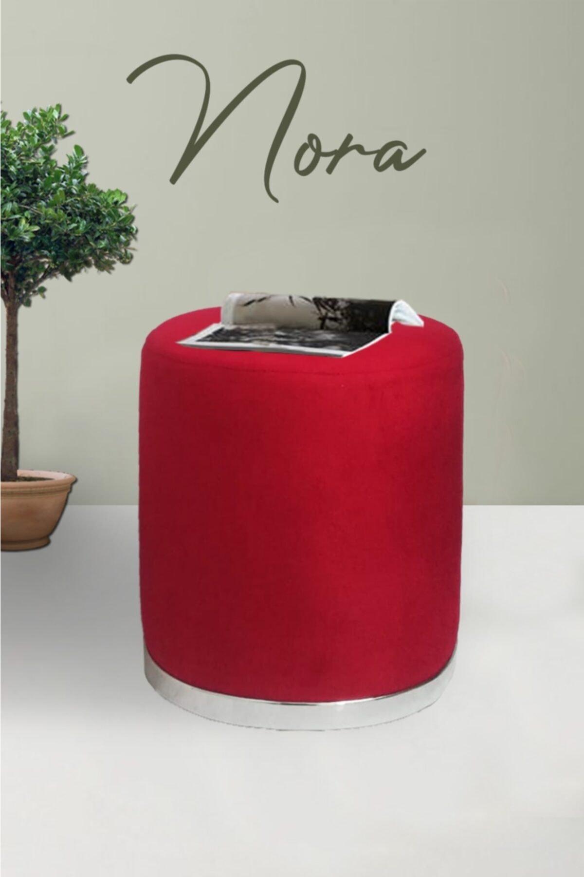 Zem Nora Silinebilir Puf - Red Silver 1