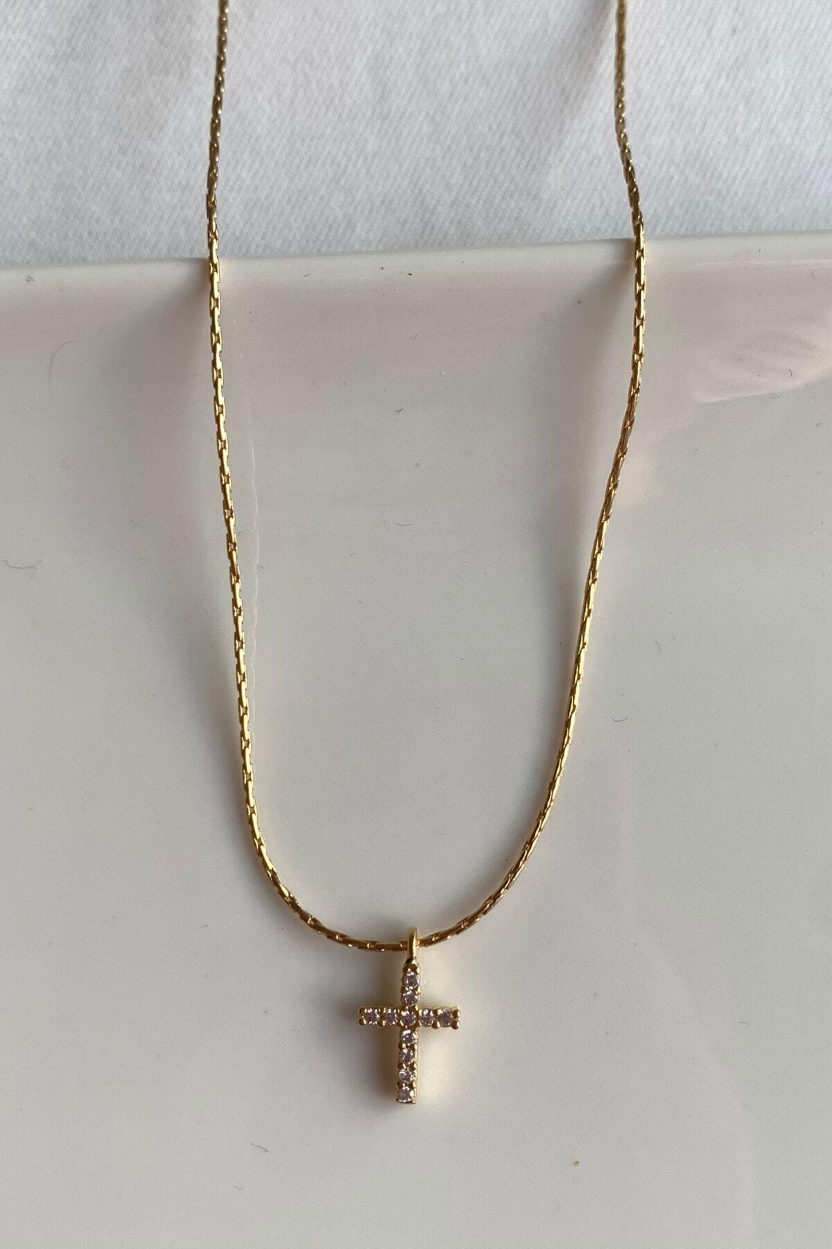 luvia Mini Zirkon Taşlı Altın Kaplama Haç Kolye 1
