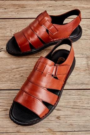 Bambi Hakiki Deri Taba Erkek Sandalet L1501600203