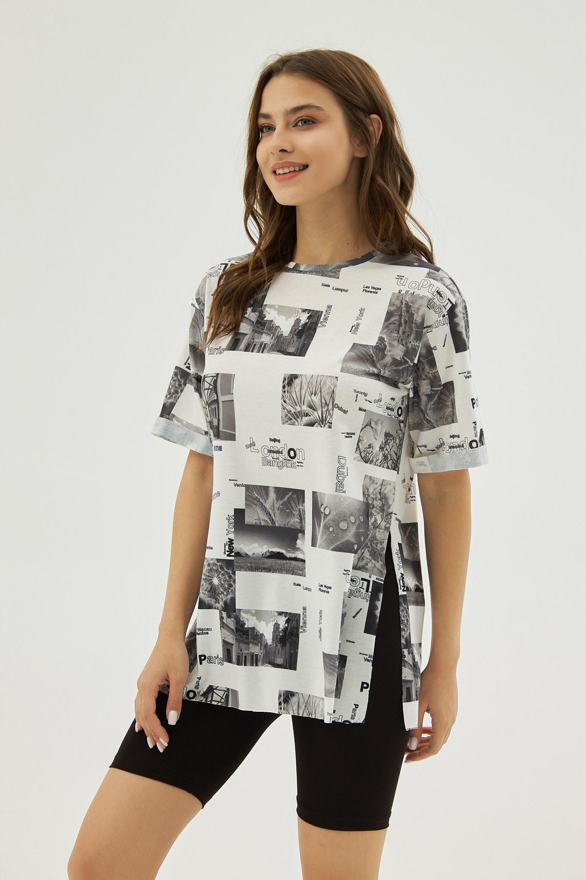 Pattaya Kadın Beyaz Gri Desenli Yırtmaçlı Oversize Kısa Kollu Tişört P21s201-2121 2