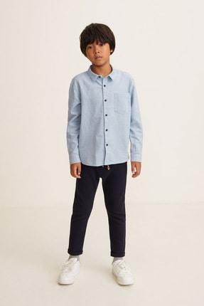 MANGO Kids Erkek Çocuk Mavi Gömlek 43020486