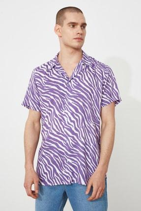 TRENDYOL MAN Mor Erkek Regular Fit Apaş Yaka Kısa Kol Tropik Gömlek TMNSS21GO0973