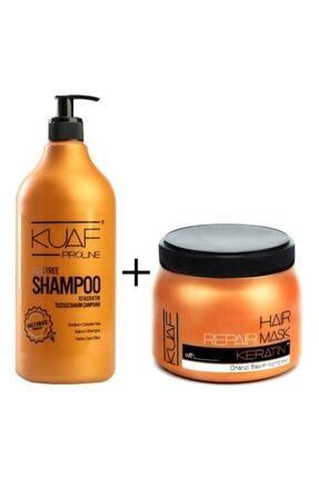 Kuaf Tuzsuz (Sülfatsız) Şampuan 1000ml.+ Keratin Saç Maske 500ml.