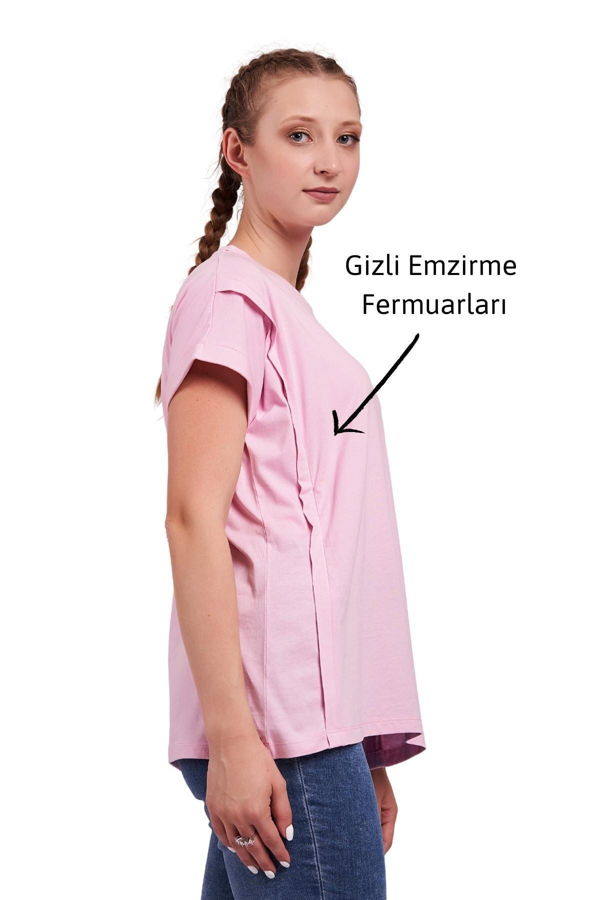 Mamma Lattes Kadın Pembe Oversize Pamuklu Hamile Ve Emzirme T-Shirt 2