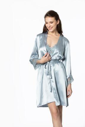 Pierre Cardin Kadın Gri Saten Altılı Pijamalı Takım 6040