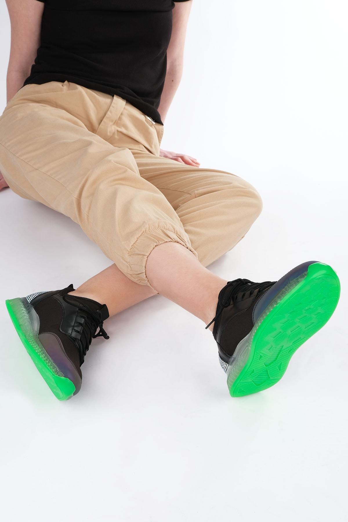 Marjin Kadın Siyah Sneaker Streç Spor Ayakkabı Monle 2