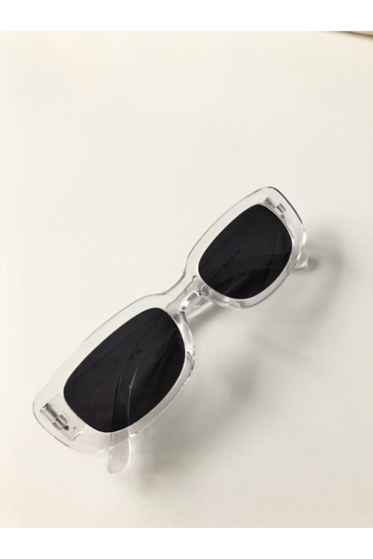 LOOKUP Unisex Şeffaf Kare Dikdörtgen Vintage Güneş Gözlüğü 1
