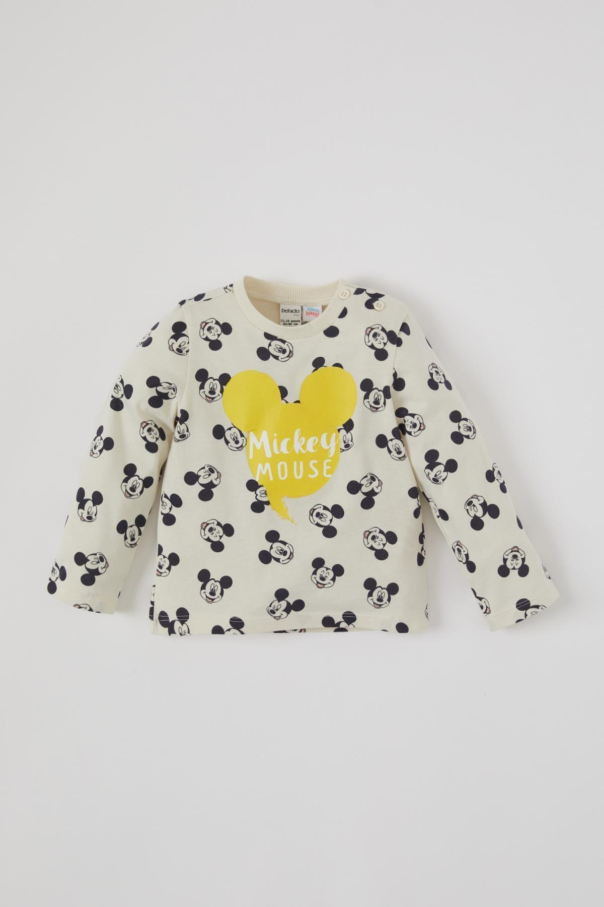 DeFacto Erkek Bebek Mickey Mouse Lisanslı Uzun Kol Tişört