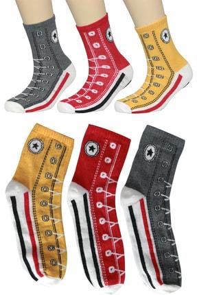 FandD Unisex Renkli Çorap Converse 3 Çift(ASORTİ PAKET İÇİNDE 1 GRİ-1 KIRMIZI-1 SARI)