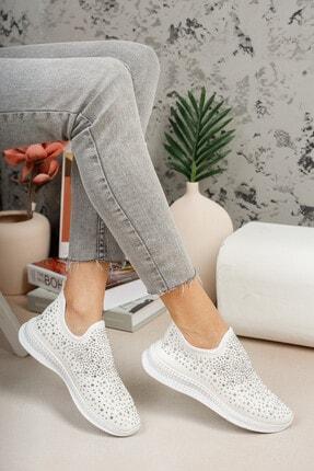 meyra'nın ayakkabıları Kadın  Beyaz Taşlı Çorap Sneaker