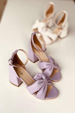 Mida Shoes Lila Deri Çapraz Topuklu Ayakkabı