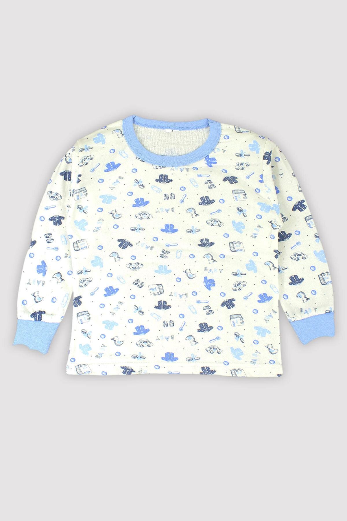 Peki 4 Mevsim Kız Erkek Çocuk Karışık Baskılı %100 Pamuk Pijama Takım 9546 2