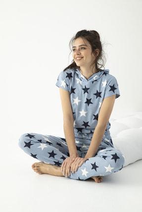Mirano Kadın Mavi Kısa Kollu Kapişonlu Yıldız Baskılı Pijama Takımı