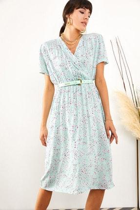 Olalook Kadın Mint Yeşili Yaka Detaylı Beli Lastikli Viskon Elbise ELB-19001414