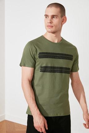 TRENDYOL MAN Haki Erkek Basic Slim Fit Baskılı Kısa Kollu T-Shirt TMNSS20TS0092