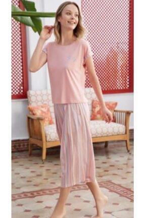 Eros Kadın Pamuk Sıfır Yaka Altı Çizgili Kapri Pijama Takım