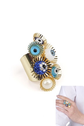 Marjin Kadın Altın Renkli Mavi Göz Ve Nazar Tasarım İri Yüzük