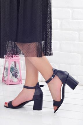 Potincim Kadın Lacivert Tek Bantlı Topuklu Ayakkabı 2013 05