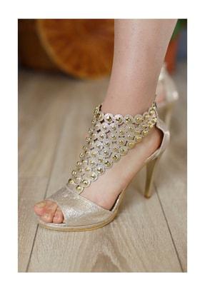 PUNTO Kadın Taş Işlemeli Açık Topuklu Ayakkabı