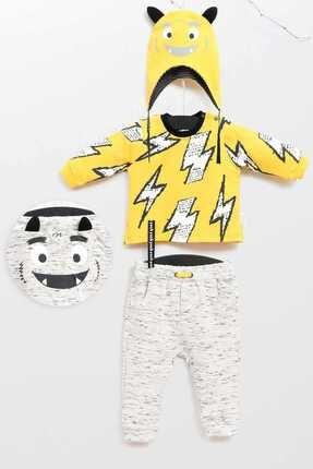Wogi Limon Sarı Erkek Bebek Alt Üst Şapka 3Lü Takım