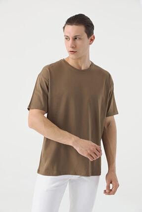D'S Damat Erkek Vizon Oversize Düz T-shirt