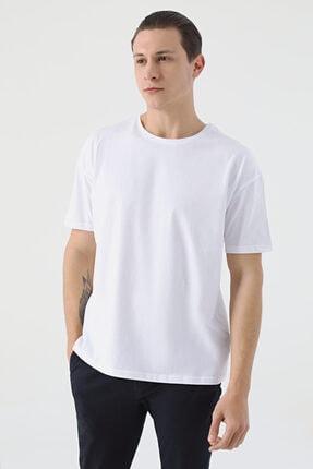 D'S Damat Erkek Beyaz Oversize Düz T-shirt