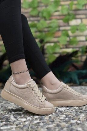 Riccon Kadın Bej Yılan Derisi Görünümlü Sneaker Ayakkabı 0012205
