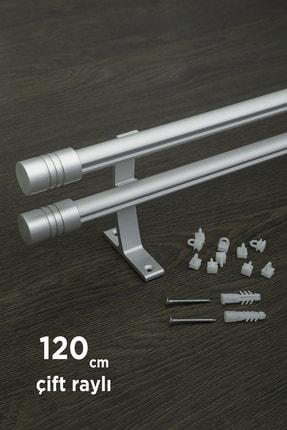 VENTİ PERDE 120cm Kornişli Metal Rustik Mat Gri Venti 20mm Çift Raylı Perde Askısı, Rustik Borusu, Metal Korniş