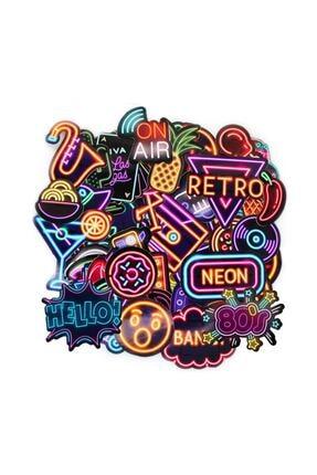 TUGİBU Laptop Sticker Neon Macbook Retro Çıkartma 51 Adet