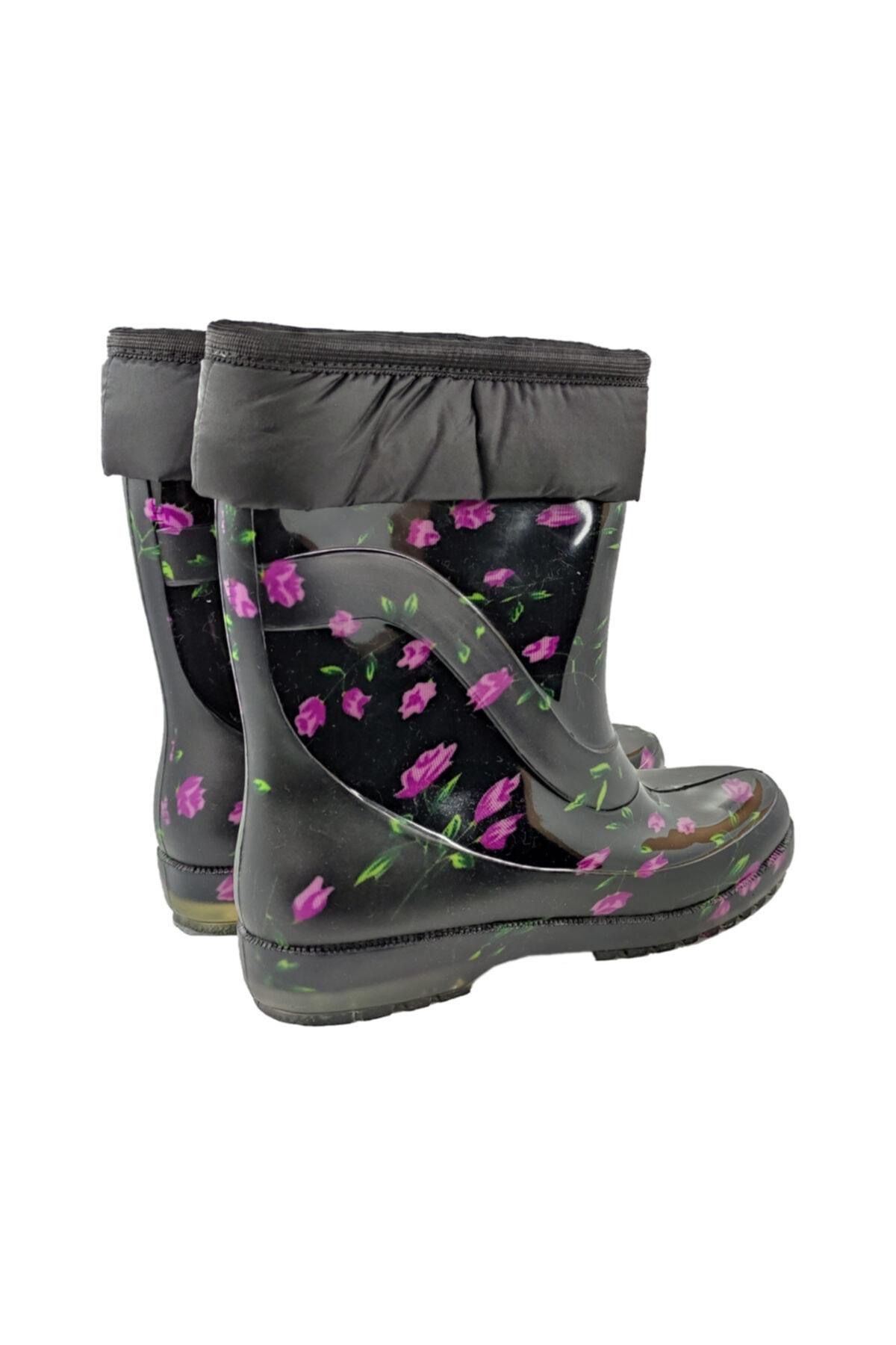 fafatara Mor Çiçekli Yünlü Çizme Kar & Yağmur Çizmesi 2