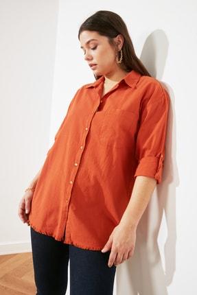 TRENDYOLMİLLA Turuncu Cep Detaylı Gömlek TWOSS20GO0268