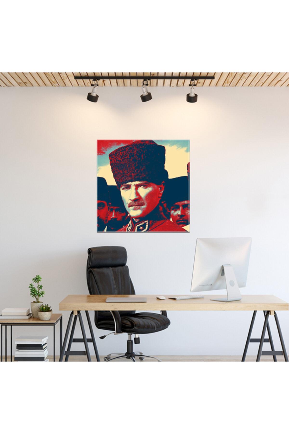 PabloFi Gazi Mustafa Kemal Atatürk Kalpaklı Efektli Kanvas Tablo 2