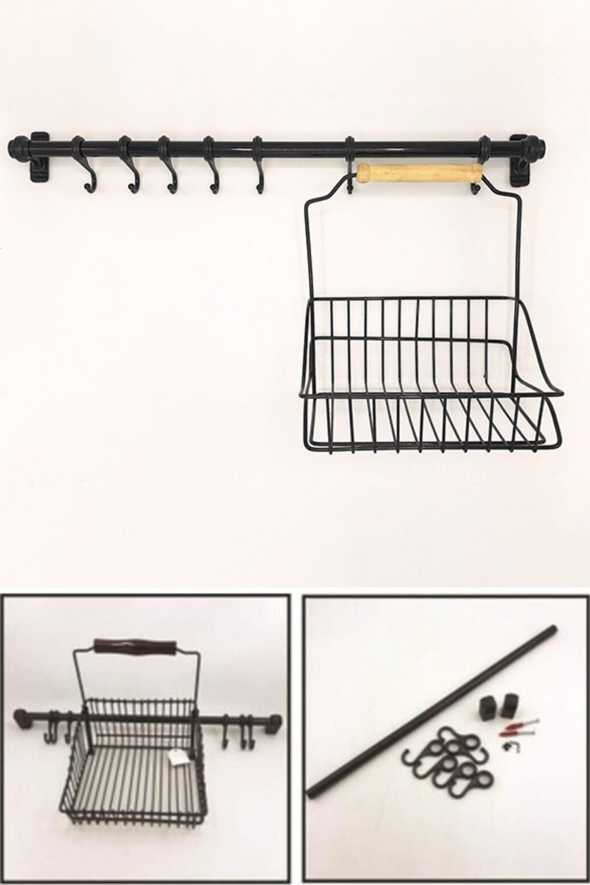 palmiyestore Palmiye Retro Mutfak Seti Askılı Ve Sepetli 1