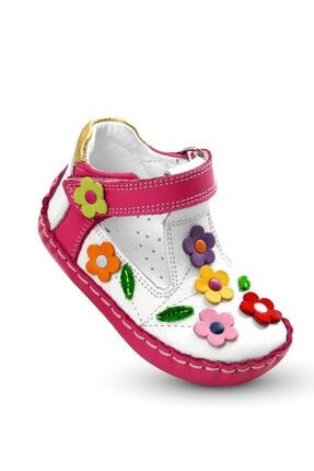 KAPTAN JUNIOR Kız Bebek Pembe Ilkadım Hakiki Deri Ortopedik Ayakkabı Itdk 205 Babet