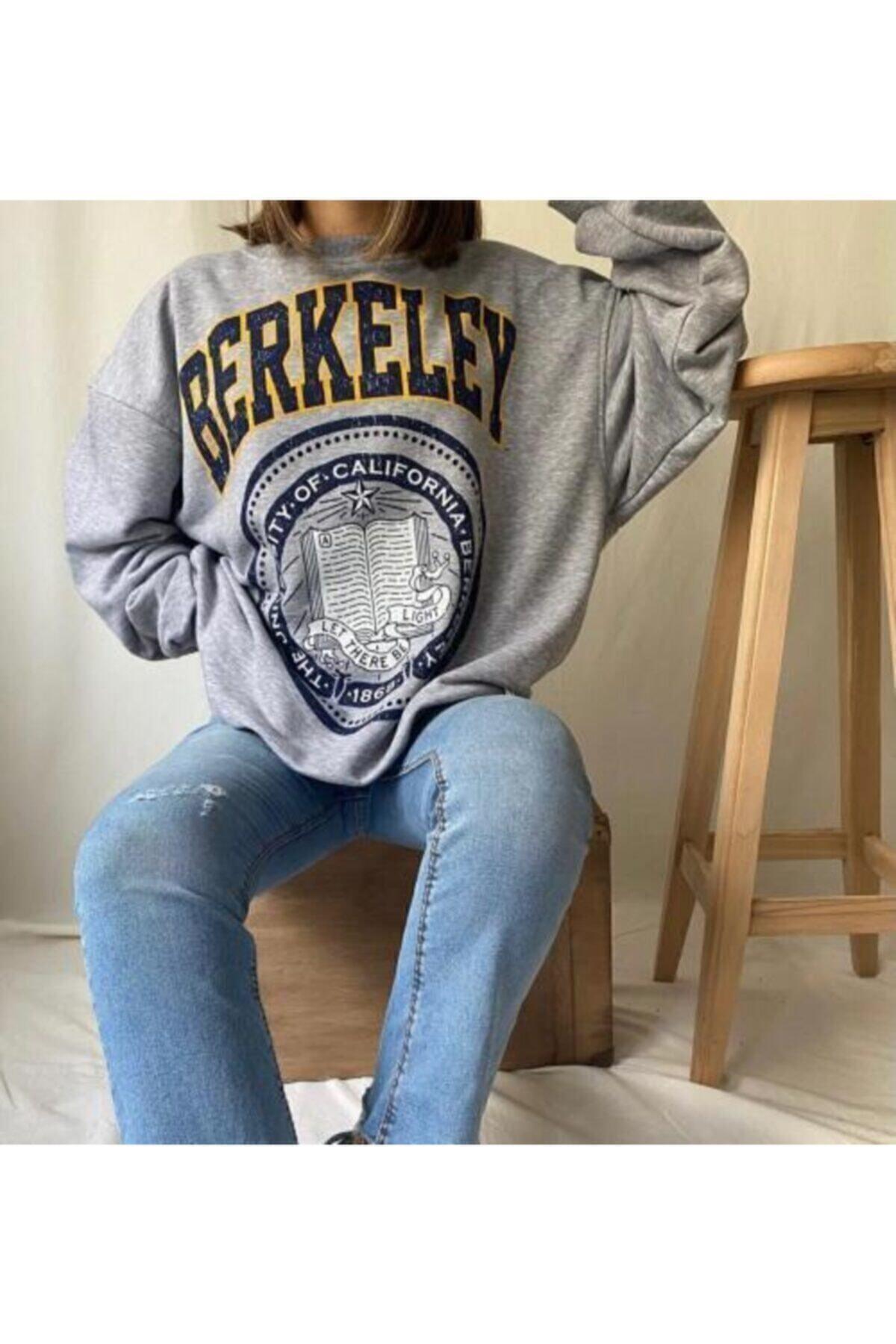 mekabutik Kadın Gri Berkeley Baskılı Seatshirt 1