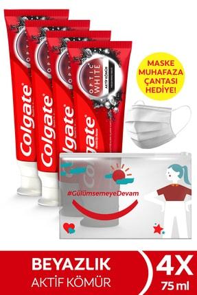 Colgate Optic White Aktif Kömür Beyazlatıcı Diş Macunu 75 ml X 4 Adet Maske Kabı Hediye