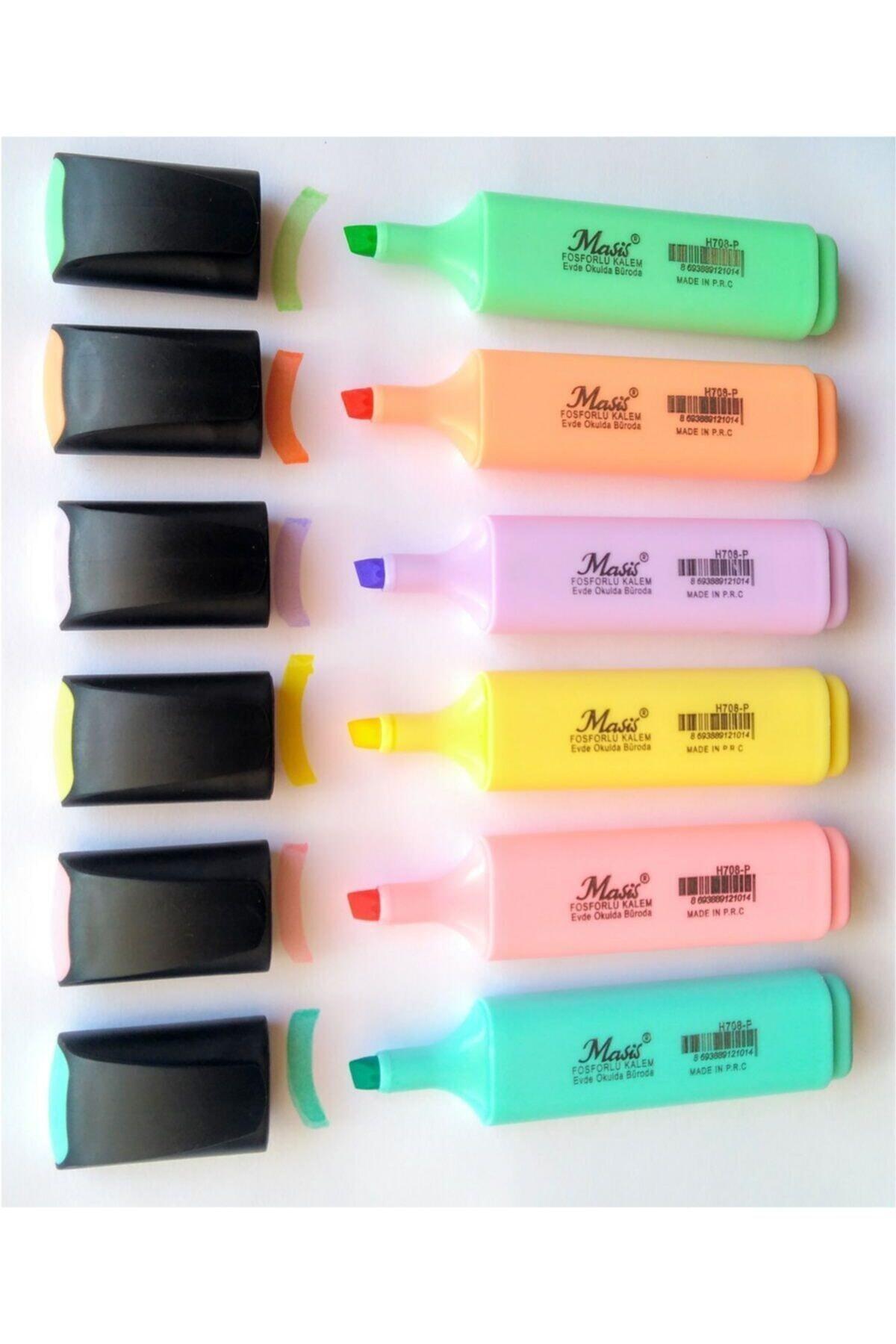 Masis Pastel Renk Fosforlu Işaretleme Kalemi 6 Lı Set 1