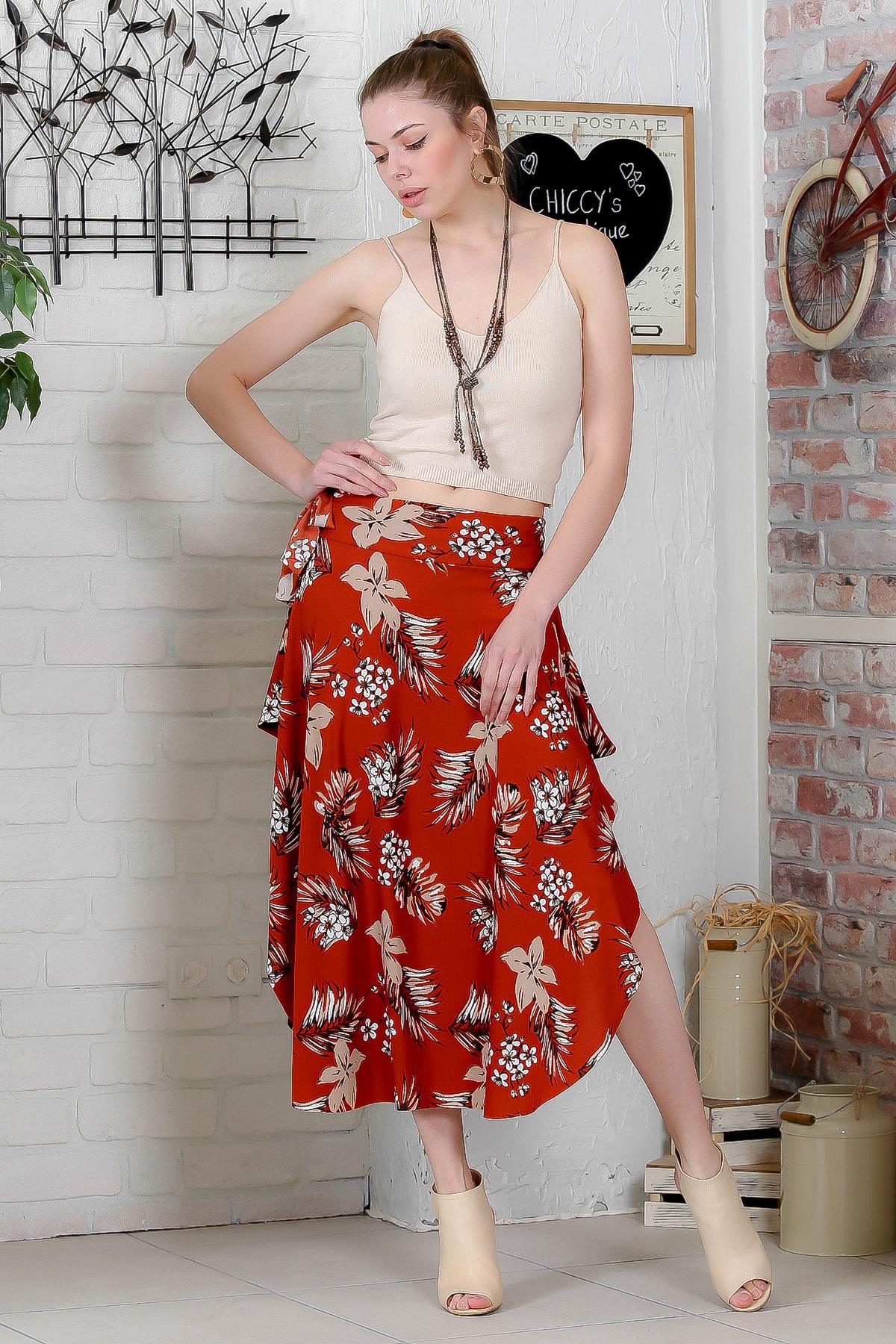 Chiccy Kadın Kiremit Asimetrik Çiçek Desenli Yanı Yırtmaçlı Bağlamalı Salaş Etek M10110000ET99274