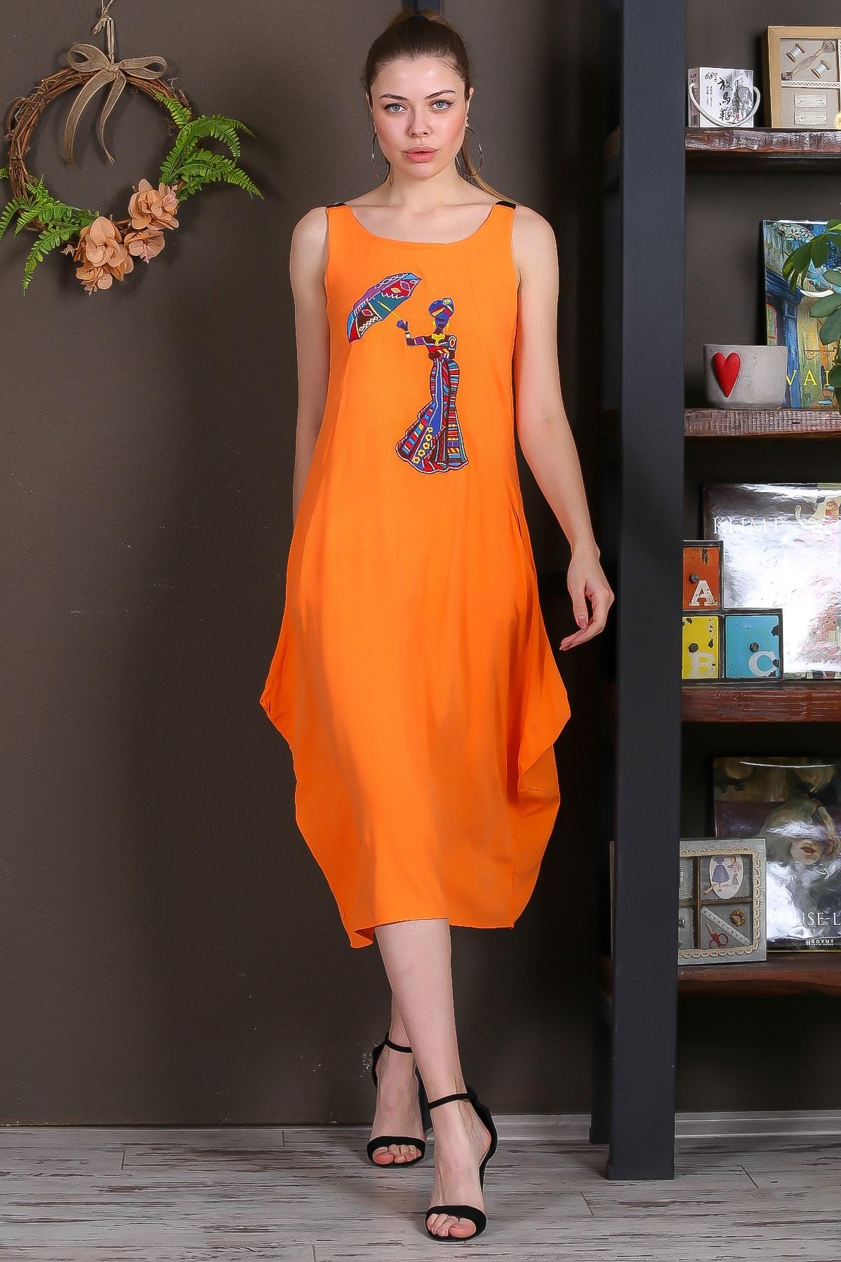 Chiccy Kadın Turuncu Şemsiye Nakışlı Askıları Kemer Tokalı Cepli Dokuma Elbise M10160000EL95410