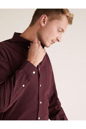 Marks & Spencer Erkek Mor Puantiyeli Uzun Kollu Gömlek T25002852M