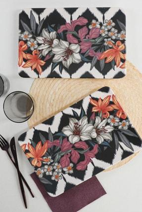 Keramika Mor Çiçek Kayık Tabak 33X21 Cm 2 Adet - 17924