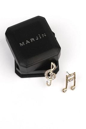 Marjin Kadın Gold Nota Ve Sol Anahtarı Küpe