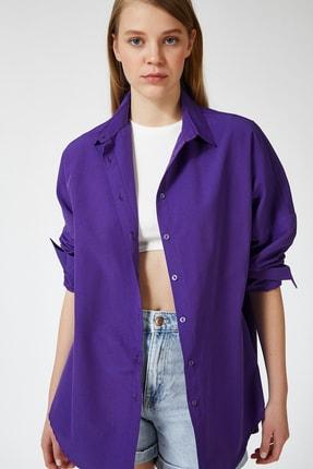 Happiness İst. Kadın Mor Oversize Uzun Basic Gömlek DD00842
