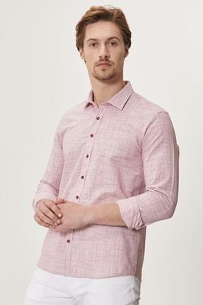 AC&Co / Altınyıldız Classics Erkek Bordo Tailored Slim Fit Klasik Gömlek Yaka %100 Koton Gömlek