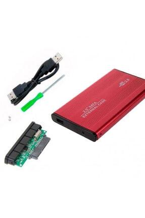 WOZLO 2.5 Inç Kırmızı Sata Harddisk Kutusu - Metal Notebook Hdd Hard Disk Kutu - Kırmızı