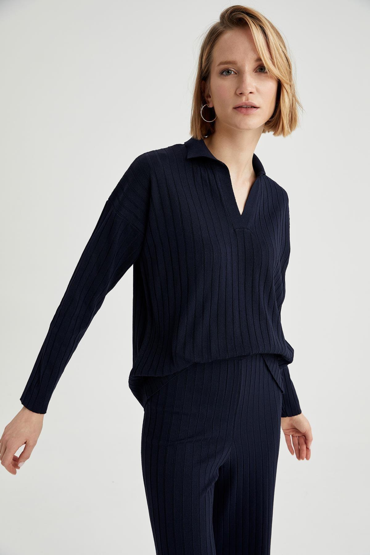 DeFacto Kadın Lacivert Gömlek Yaka Triko Kazak