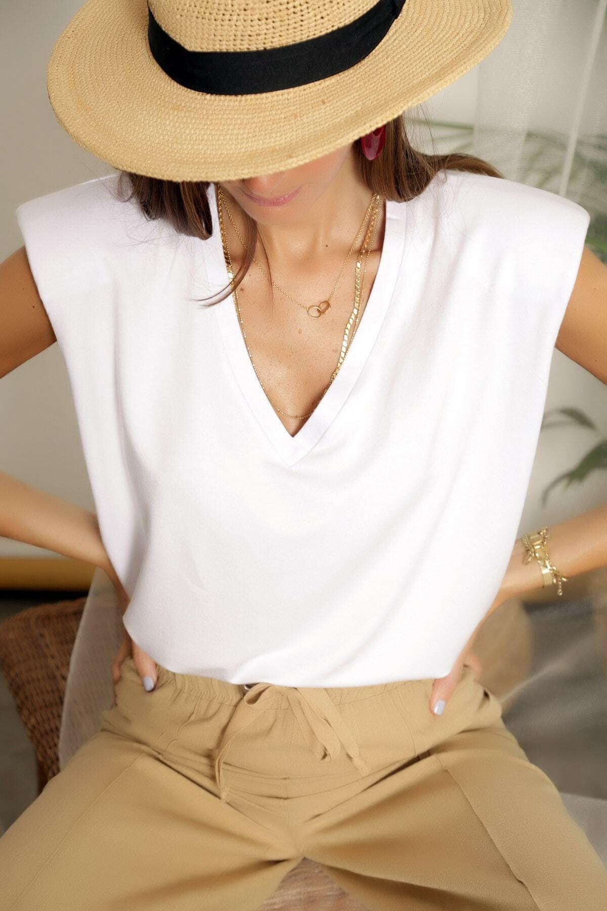 ARYA FASHION Kadın Beyaz Özel Tasarım V Yaka Göğüs Dekolteli Seksi Kolsuz Bol Kesim Tarz Vatkalı Bluz 1